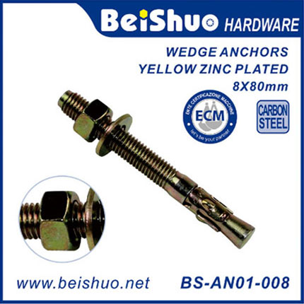 BS-AN01-008 Fastener Carbon Steel Wedge Anchor Expansion Bolt