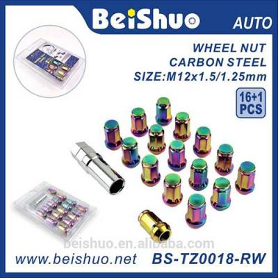 BS-TZ0018-RW Auto M12 x 1.5mm Steel Racing Car Car Wheel Lock Nuts