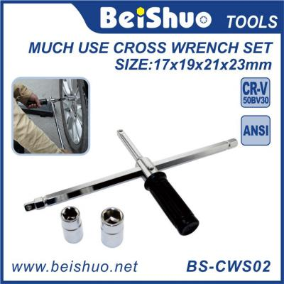4 -Ways Much Use Cross Wrench with Anti- Slip Handle
