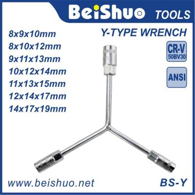 Carbon Steel 3 -Ways Y Type Wrench with Anti- Slip Handle