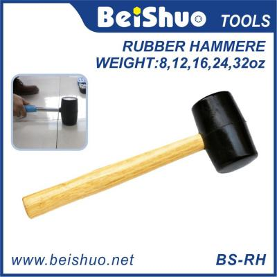 BS-RH Black Rubber Mallet with Wooden Handle