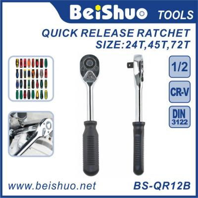 Quick Release Reversible Ratchet Wrench with Rubber Covered Handle