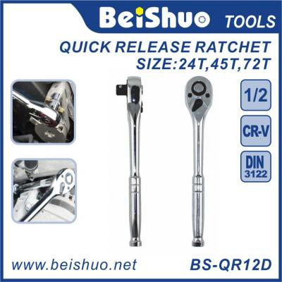 Polished Combination Universal Standard Quick Release Ratchet Wrench