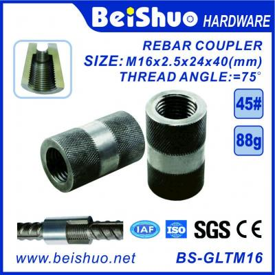 Female and parallel threaded rebar coupler Rebar upset coupler