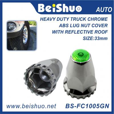 BS-FC1005GN 33mm Truck Nut Cover with Green Reflextive Top