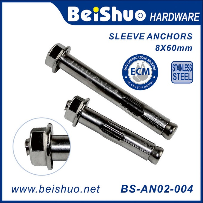 BS-AN02-007 M10X85 Carbon Steel Hex Nut Sleeve Expansion Anchor Bolts