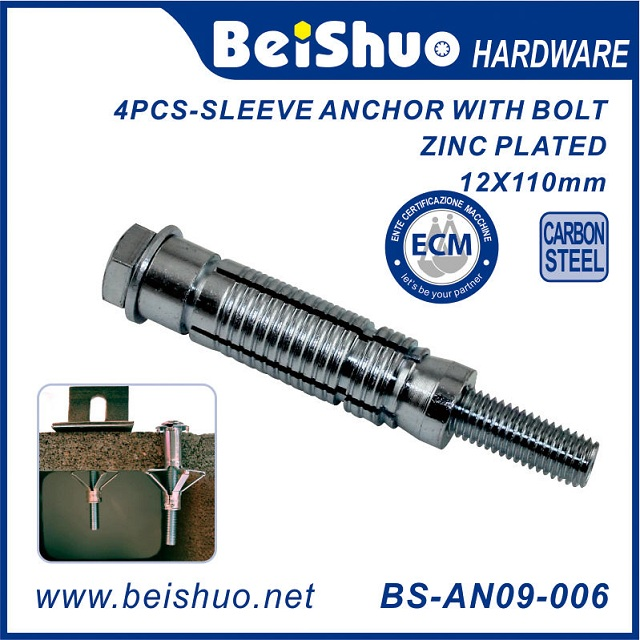 BS-AN09-007 Wall Concrete Brick 4PCS-Sleeve Expansion Anchor Bolts
