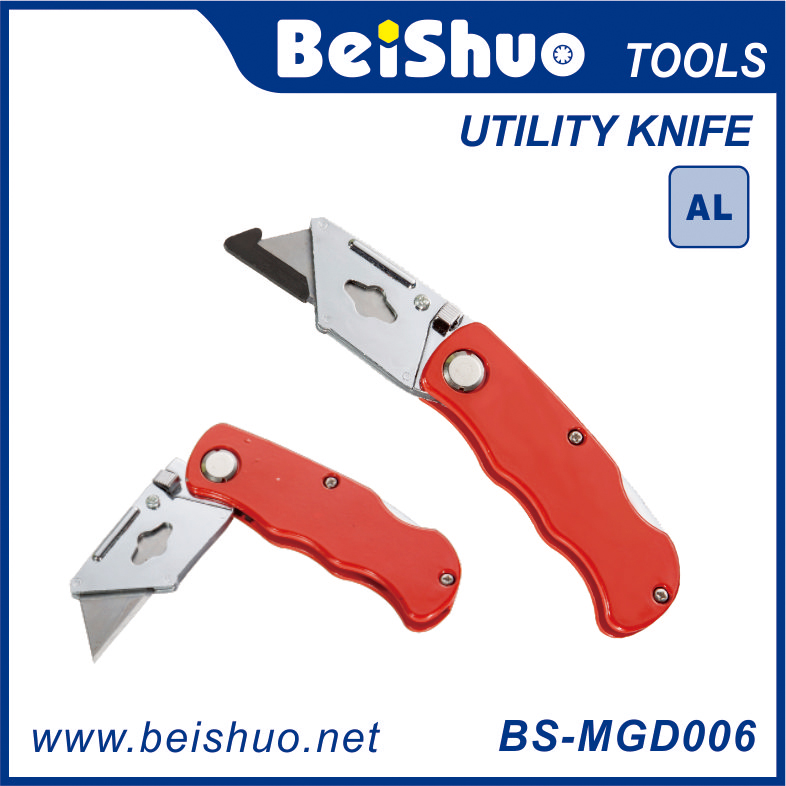 Folding Utility Knife With Aluminium Alloy Handle Zinc Alloy Neck Chrome Plated