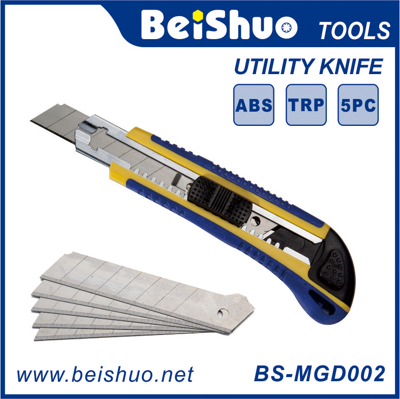 BS-MGD003 18MM Aluminum Utility Knife With 5Pcs Blades Hand Tool