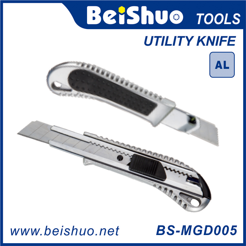 BS-MGD005 18MM Aluminum Utility Knife With One Blade And Release Button Option Hand Tool