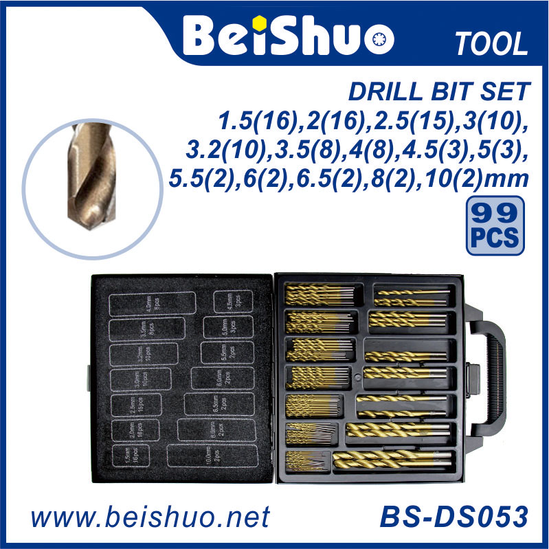 BS-DS053 99 PCS Twist Drill Bits Set with Plastic Box