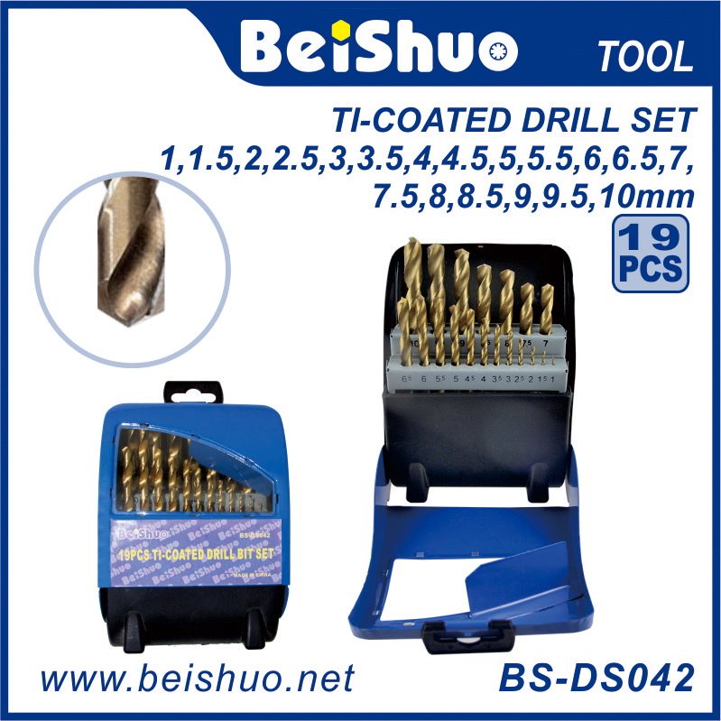 BS-DS042 19PCS HSS Straight Shank Electric Power Tool Accessories Twist Combination Drill Bit Set