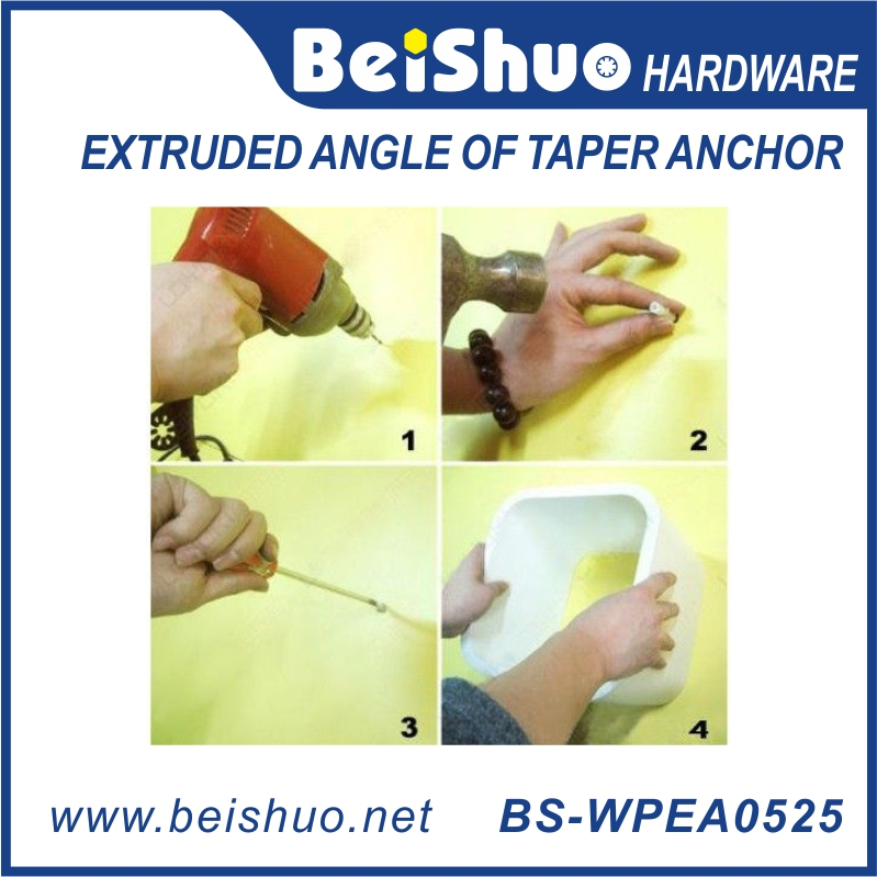 BS-WPEA0525 Custiomized Size Plastic Extruded Angle Taper Anchor