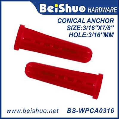 Red Plastic Universal Expansion Wall Plugs for Building Conical Anchor