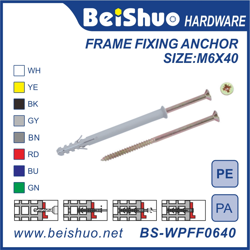 BS-WPFF0530 Wholesale Plastic Frame Fixing Anchor PE/PA fish wall plug with flange