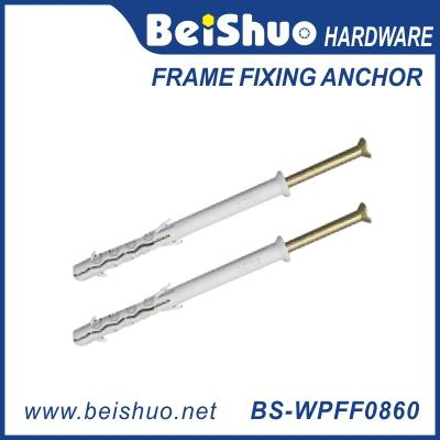 BS-WPFF0860 Wholesale Plastic Frame Fixing Anchor PE/PA M8-M10 fish wall plug with flange