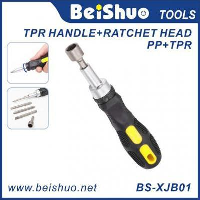 BS-XJB01 Portable Tool Multi Function TPR Handle Ratchet Screwdriver
