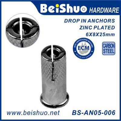 BS-AN05-006 Threaded Drop-In Anchor with Lip, Carbon Steel, Zinc Plated Finish, Inch