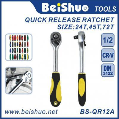 BS-QR12A 1/4 3/8 1/2 inch Drive Pear Head Quick Release Ratchet with Rubber Covered Handle