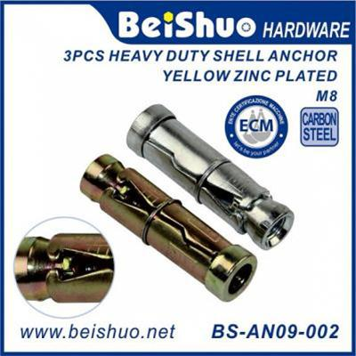 BS-AN09-002 High Quantity M8 3PCS Yellow Zinc Plated Heavy Duty Shell Anchor Bolts