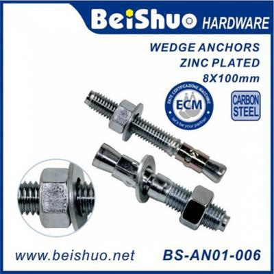 BS-AN01-006 M8X100 Carbon Steel Concrete Wedge Anchor Bolts with Nuts & Washers
